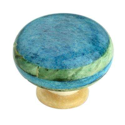 Round 1-3/7 in. (36 mm) Blue Cabinet Knob