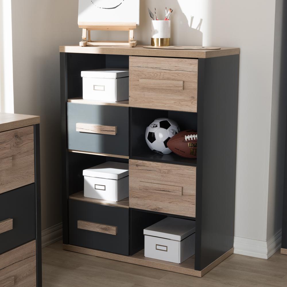 Baxton Studio Pandora Dark Grey and ''Oak'' Light Brown Storage Cabinet