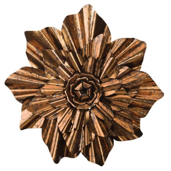 30 in. Bronze Colored Flower Wall Decor