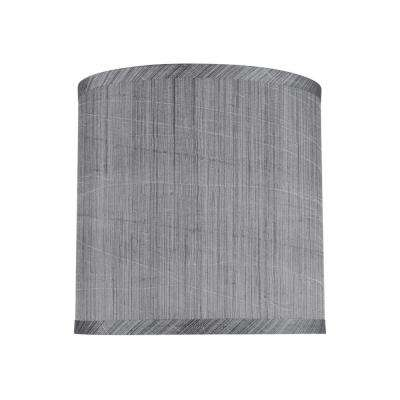 8 in. x 8 in. Grey and Black and Striped Pattern Hardback Drum/Cylinder Lamp Shade