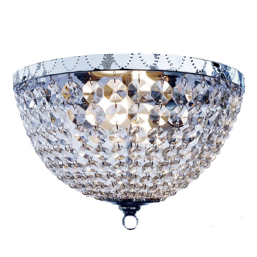 Elegant Designs Victoria Crystal 2 Light Chrome Rain Drop Flushmount