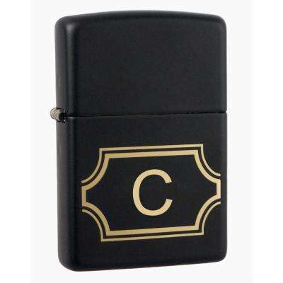 "Black Matte Lighter with Initial ""C"""