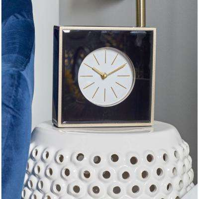 Mukti-Colored Modern Table Clock with White, Gold and Brown Accents