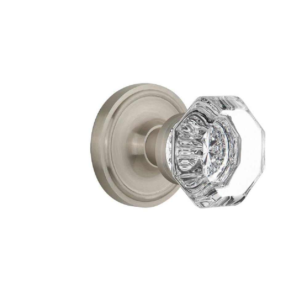 Classic Rosette 2-3/8 in. Backset Satin Nickel Passage Hall/Closet Waldorf