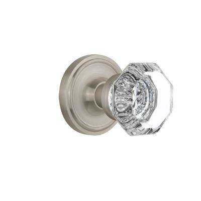 Classic Rosette 2-3/8 in. Backset Satin Nickel Passage Hall/Closet Waldorf Crystal Door Knob