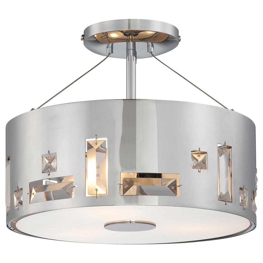 Bling Bang 3-Light Chrome Semi Flush Mount