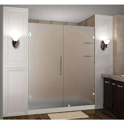 Nautis GS 69 in. x 72 in. Frameless Hinged Shower Door with Frosted Glass and Glass Shelves in Stainless Steel