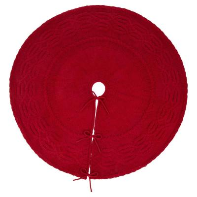 52 in. D Knitted Polyester Red Christmas Tree Skirt