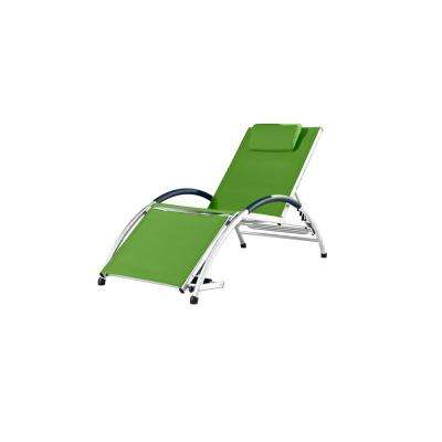 Dockside White Frame Reclining Aluminum Outdoor Lounge Chair in Green Apple