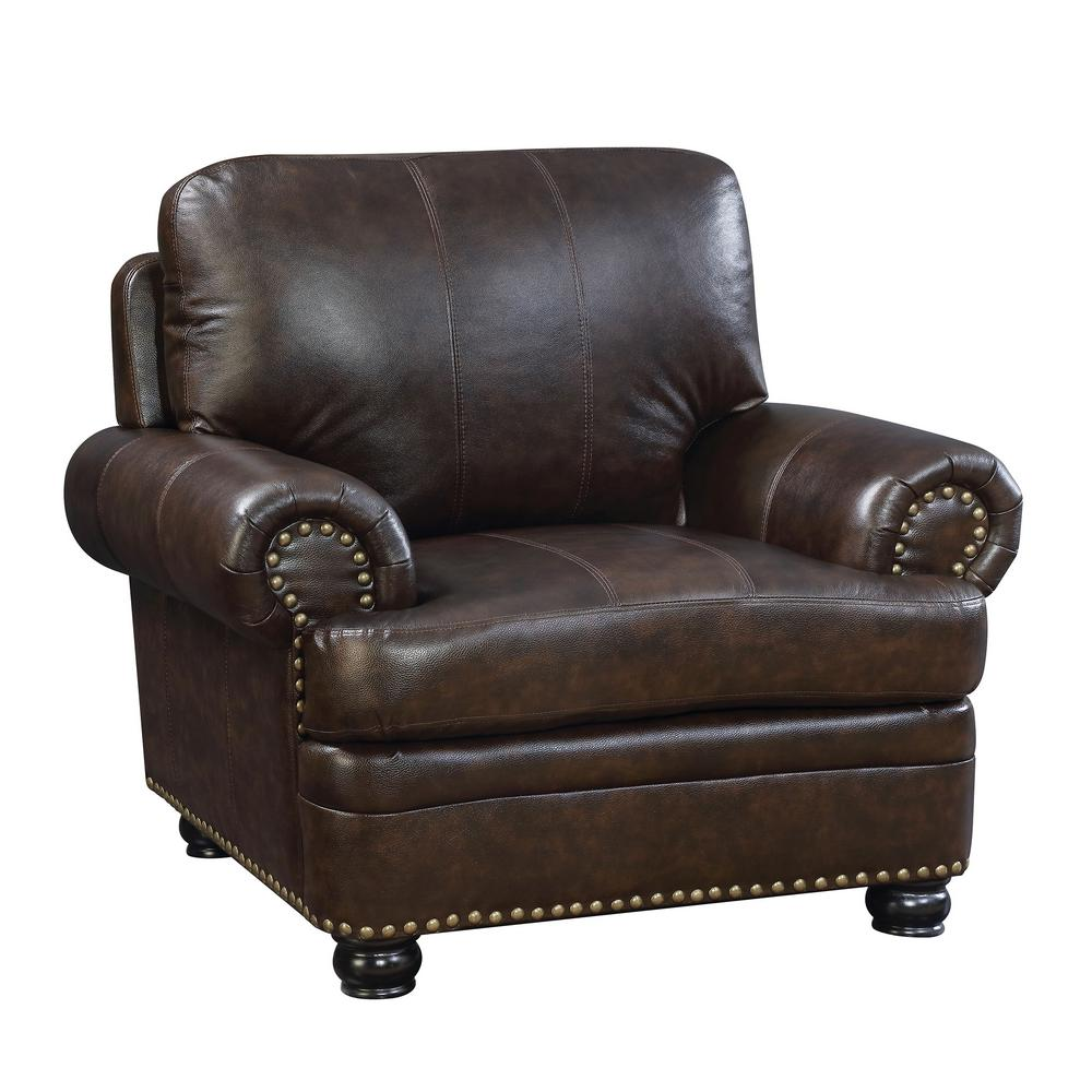 Williams home furnishing reinhardt dark brown transitional style living room chair cm6318db ch the home depot
