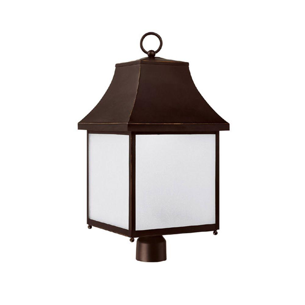 Filament Design 1-Light New Bronze Outdoor Fixture with Frosted Seeded Glass Shade