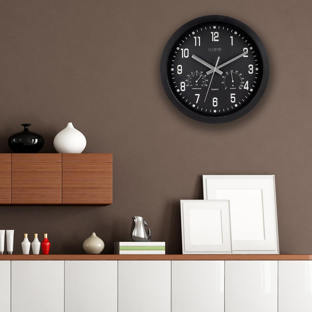 La crosse technology 12 inh round black analog wall clock with h round black analog wall clock with temperature and humidity amipublicfo Choice Image