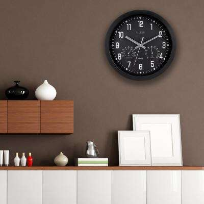 12 in.H Round Black Analog Wall Clock with Temperature and Humidity