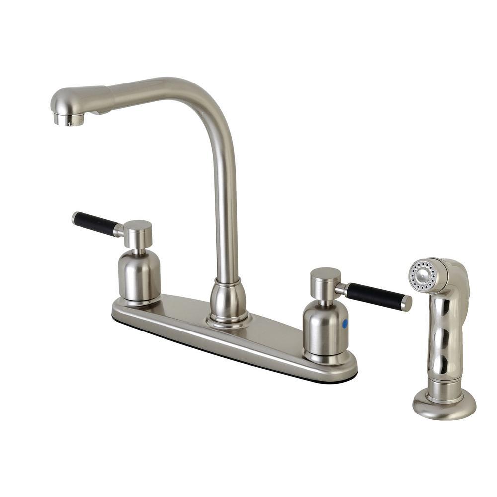 Modern 2-Handle High Arc Standard Kitchen Faucet with Side Sprayer in Satin Nickel