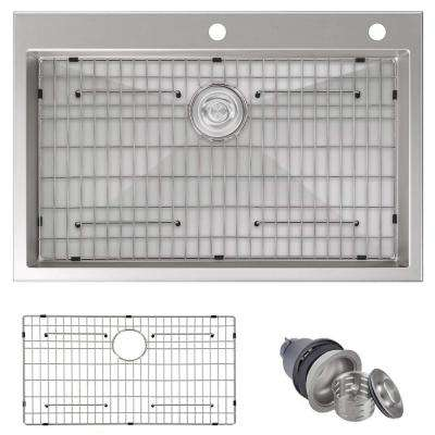 Handmade Drop-in Stainless Steel 33 in. Single Bowl Kitchen Sink with Bottom Grid and Strainer