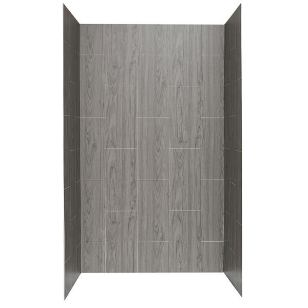 Jetcoat 34 in. x 48 in. x 78 in. 5-Piece Easy-up Adhesive Alcove Shower Surround in Ash Grey Wood