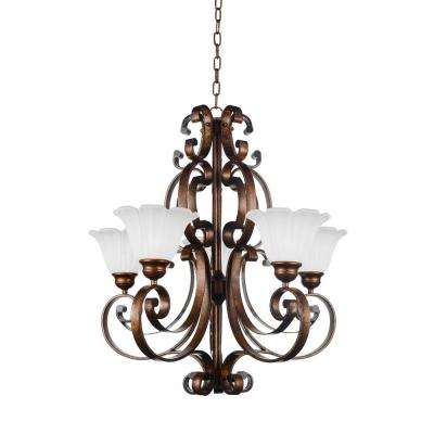 Victorian 5-Light Antique Gold Chandelier with White shade