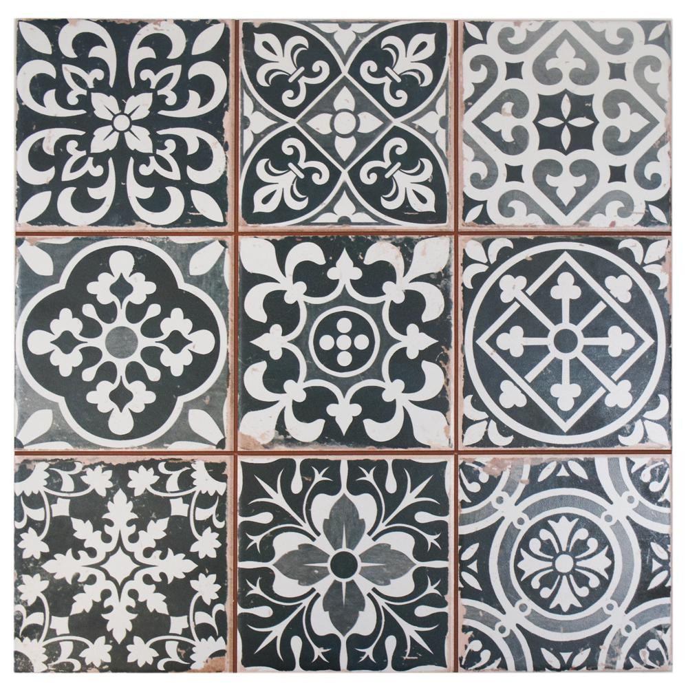 Merola Tile Faenza Nero Encaustic 13 in. x 13 in. Ceramic Floor and Wall Tile (12.2 sq. ft. / case)