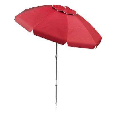6 ft. Aluminum Drape Tilt Beach Umbrella in Red