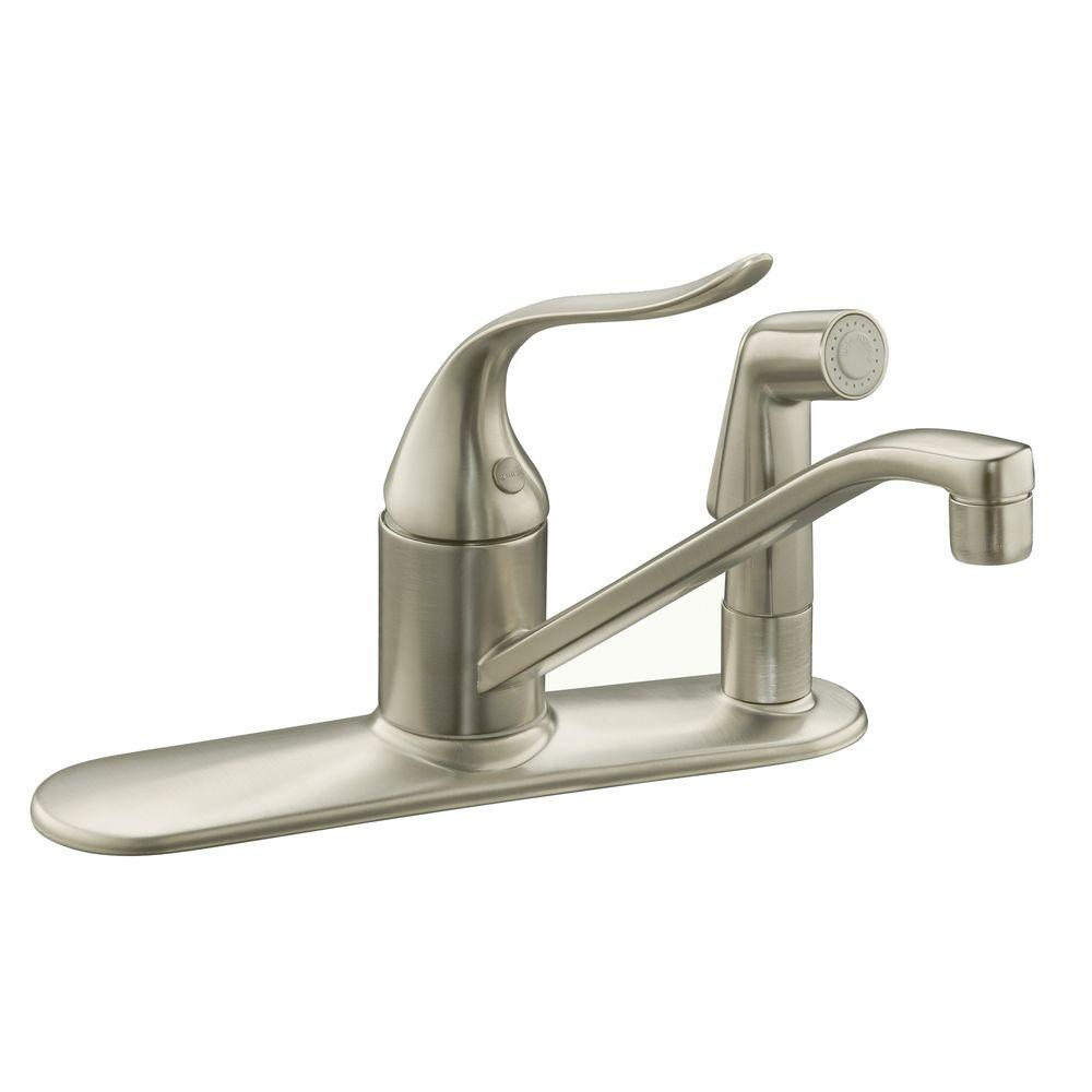KOHLER Coralais 2- or 3-Hole Single Handle Low-Arc Kitchen Faucet with Side Sprayer in Vibrant Brushed Nickel