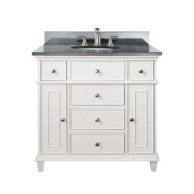 Windsor 37 in. W x 22 in. D x 35 in. H Vanity in White with Granite Vanity Top in Black and White Basin