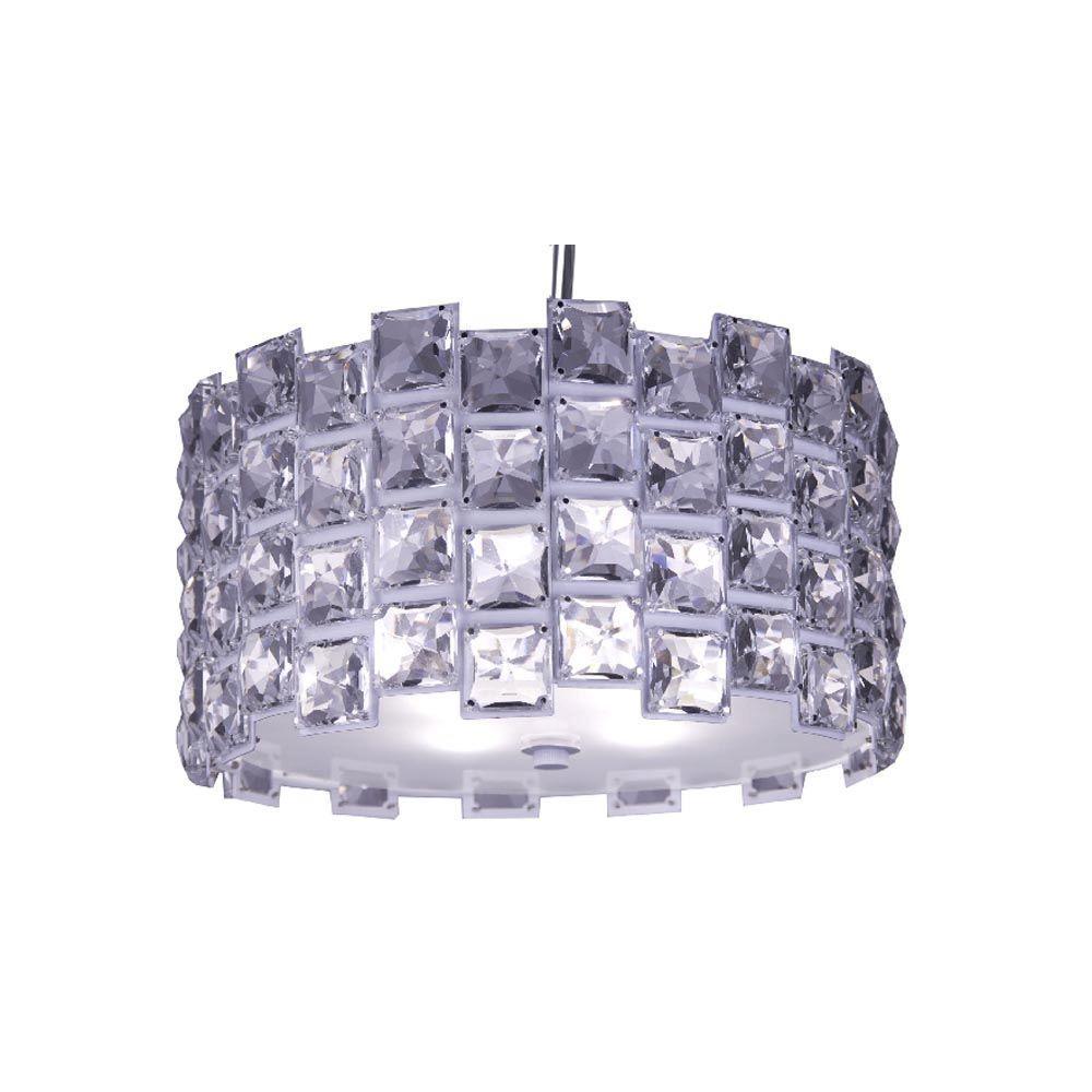 Checkolite Sky 4-Light Chrome Crystal Hanging Chandelier