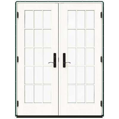 59.25 in. x 79.5 in. W-4500 Hartford Green Right Hand Inswing French Wood Patio Door