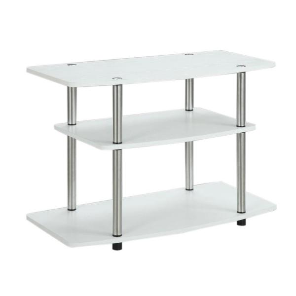 Designs2Go 31.5 in. White Particle Board TV Stand 32 in. with Cable Management