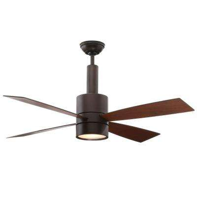 Bullet 54 in. Indoor Brushed Cocoa Bronze Ceiling Fan with Universal Wall Control