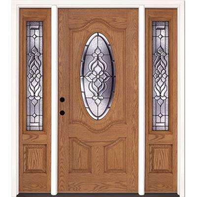 67.5 in.x81.625 in. Lakewood Patina 3/4 Oval Lt Stained Light Oak Right-Hand Fiberglass Prehung Front Door w/ Sidelites