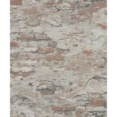 56.4 sq. ft. Templier Brown Distressed Brick Wallpaper