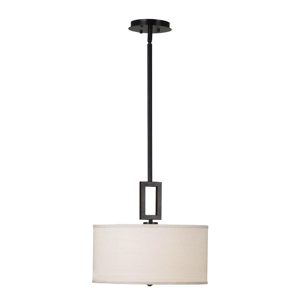Kenroy Home Lighting Keen Bronze Pendant Light With Drum: Kenroy Home Endicott 1-Light Oil Rubbed Bronze Pendant