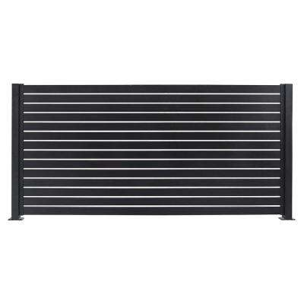 Quick Screen 7.83 ft. x 5.91 ft. x 0.20 ft. Aluminum Slat Kit in Black for fence panels