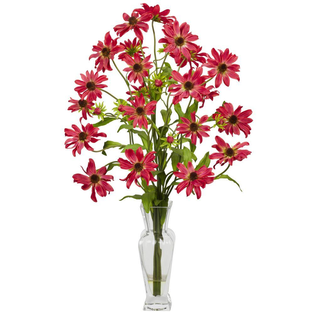 NEARLY NATURAL 27 in. H Red Cosmos with Vase Silk Flower Arrangement NEARLY NATURAL 27 in. H Red Cosmos with Vase Silk Flower Arrangement
