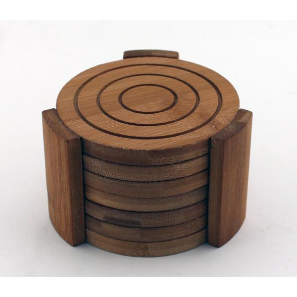 Bamboo Coaster Set Set of 6 Coasters with Holder sale now on new price