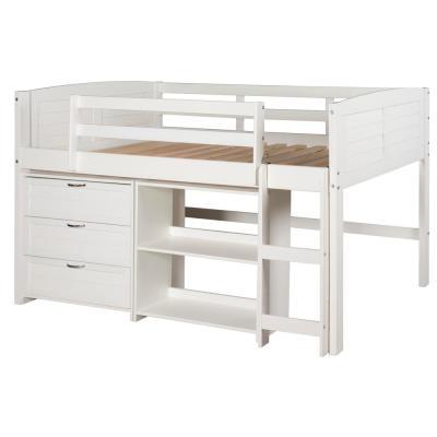 White Twin Louver Low Loft Bed with 3-Drawer Chest and Shelf