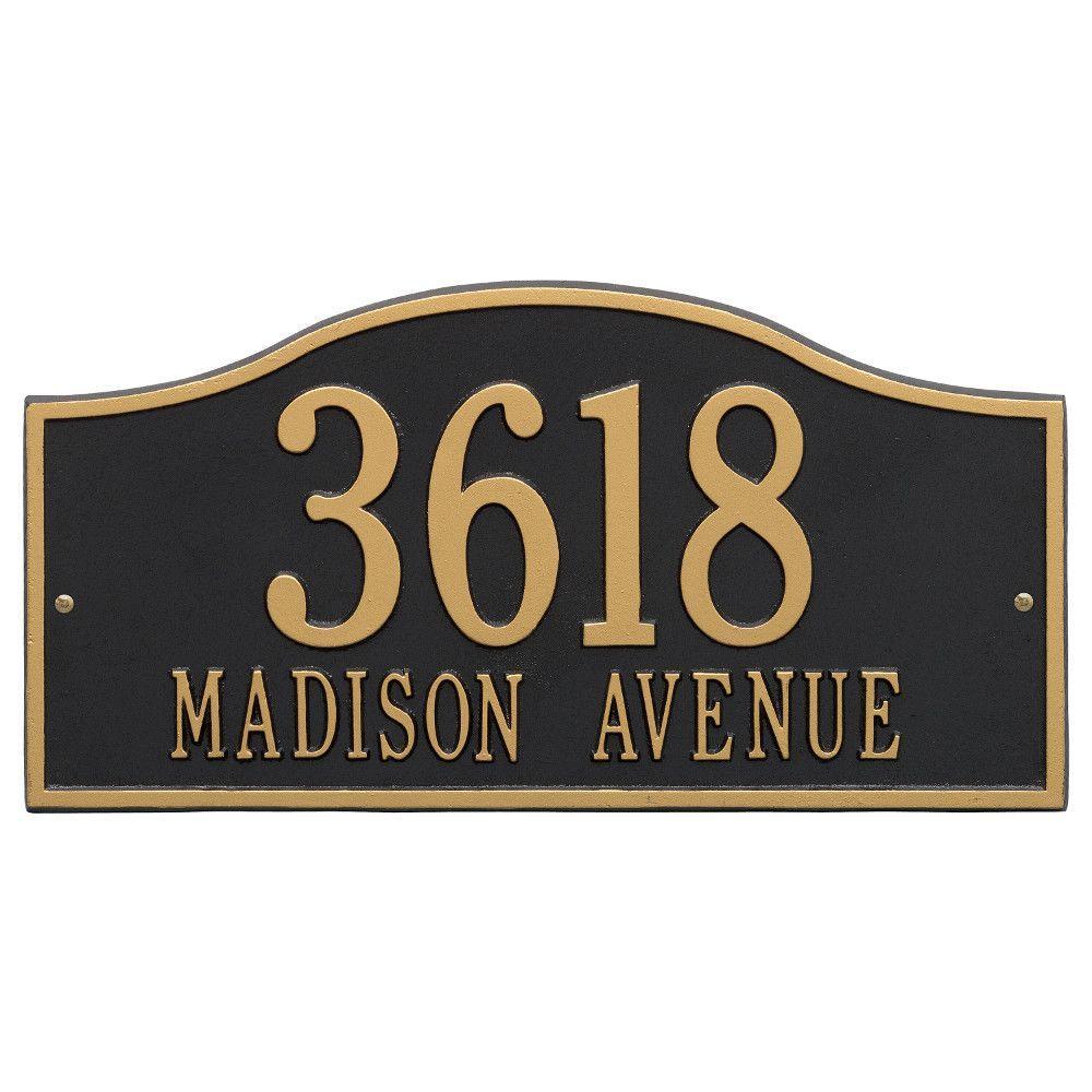 Rolling Hills Rectangular Black/Gold Grande Wall 2-Line Address Plaque