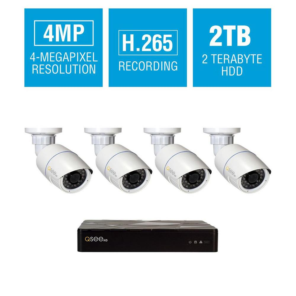 8-Channel IP Indoor/Outdoor Surveillance 2TB NVR System with (4) 4MP H.265