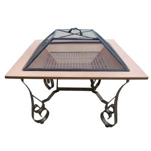 Victoria 33 inch Square Fire Pit Copper Color Bowl with Grill and Spark Guard...