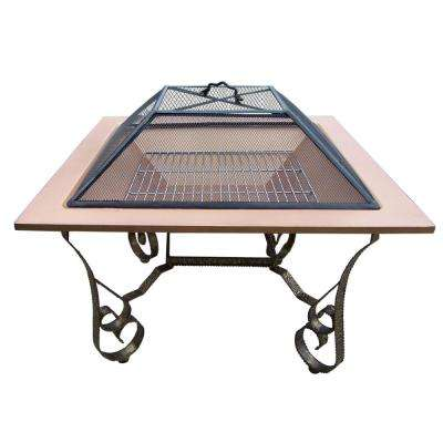Victoria 33 in. Square Fire Pit Copper Color Bowl with Grill and Spark Guard Screen Lid