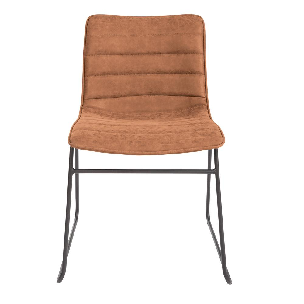 OSP Home Furnishings Halo Stacking Sand Faux Leather Chair with Black Base (2-Pack) Attractive Multi-purpose stacking chair in a trending, modern design. Perfect as dining chairs, task seating for sewing or hobbies or as fun accent seating. Great modern style and value for any home. Color: Sand Faux Leather.