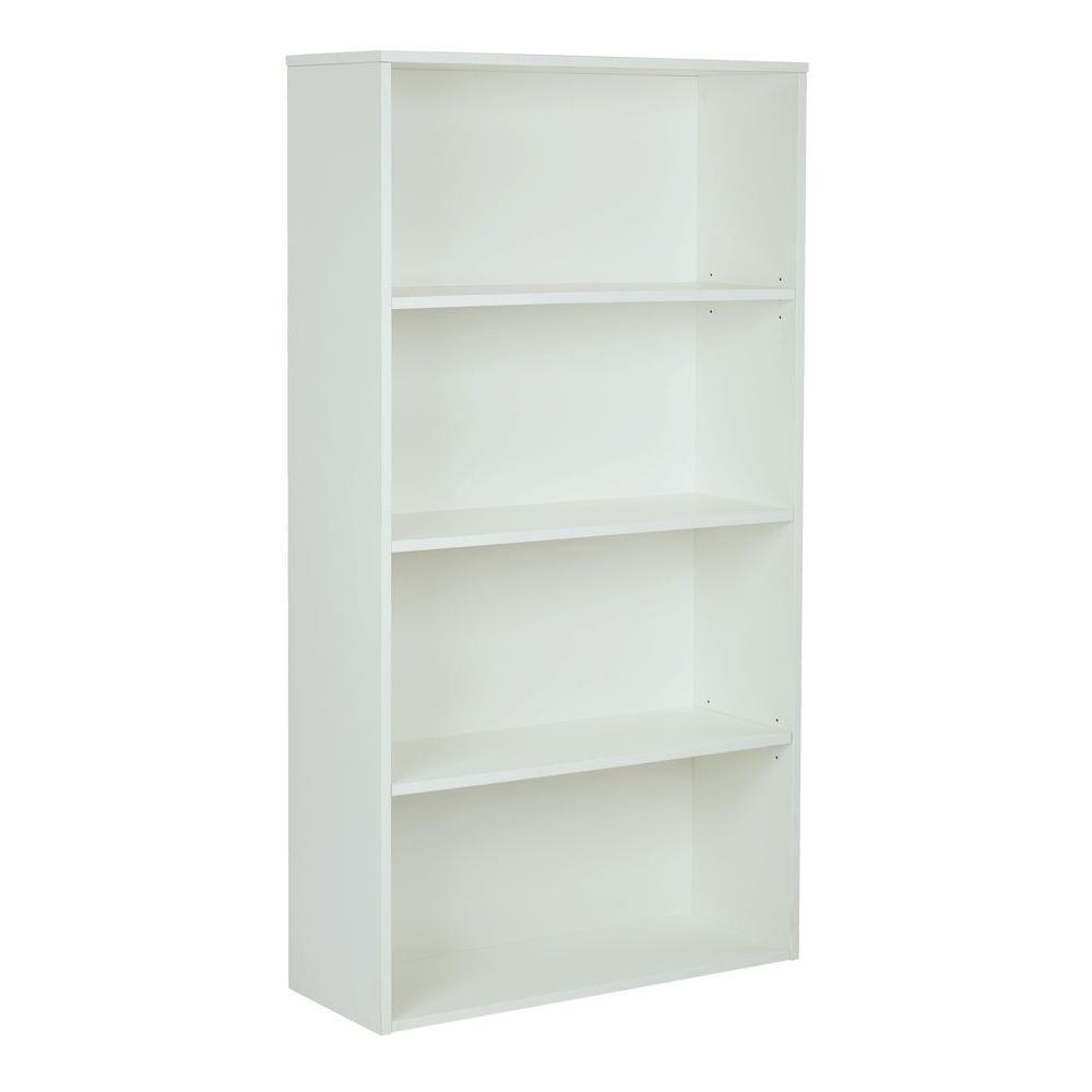 Prado White Adjustable Open Bookcase