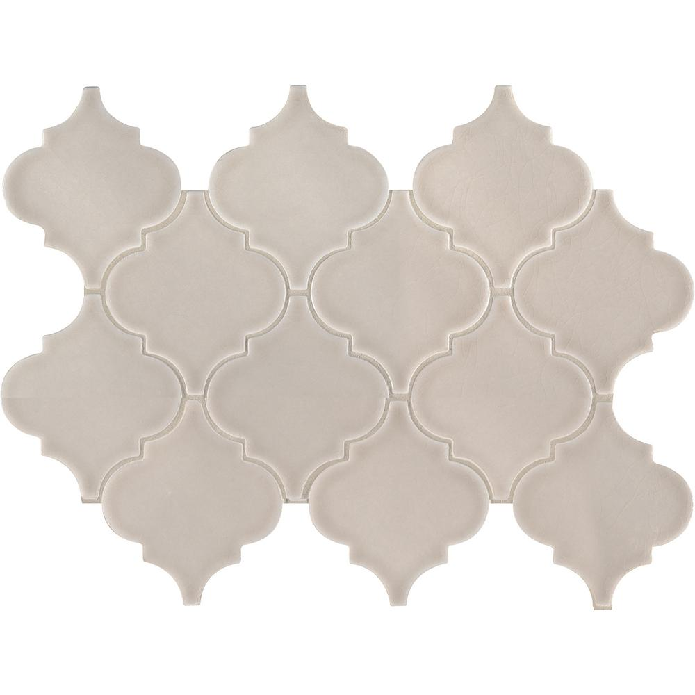 MSI Portico Pearl Arabesque 10.83 in. x 15.5 in. x 8mm Glossy Ceramic Mesh-Mounted Mosaic Tile (11.7 sq. ft. / case)