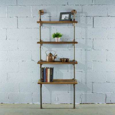 Sacramento Industrial Farmhouse, Brown 67 in. Wall 4-Shelf Etagere Pipe Bookcase Display-Metal-Reclaimed Wood