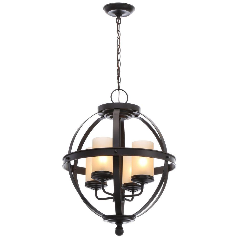Sea Gull Lighting Sfera 18.5 in. W. 4-Light Autumn Bronze Chandelier with Cafe Tint Glass