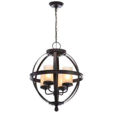 Sfera 18.5 in. W. 4-Light Autumn Bronze Chandelier with Cafe Tint Glass