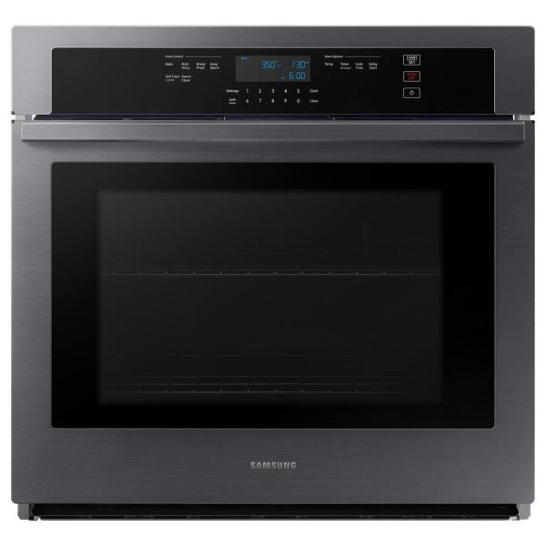 30 in. 5.1 cu. ft. Wi-Fi connected Single Electric Wall Oven in Black Stainless Steel