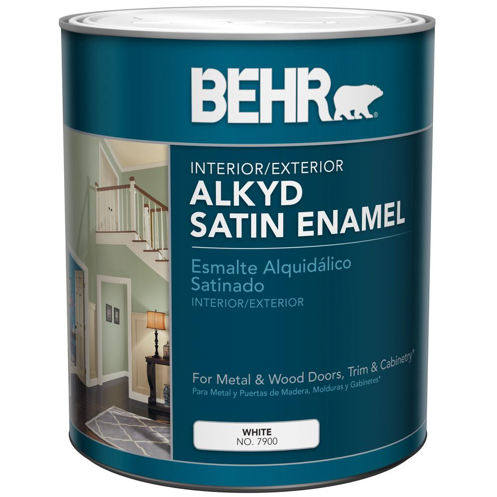 White Alkyd Satin Enamel Interior Exterior Paint 790004 The Home Depot