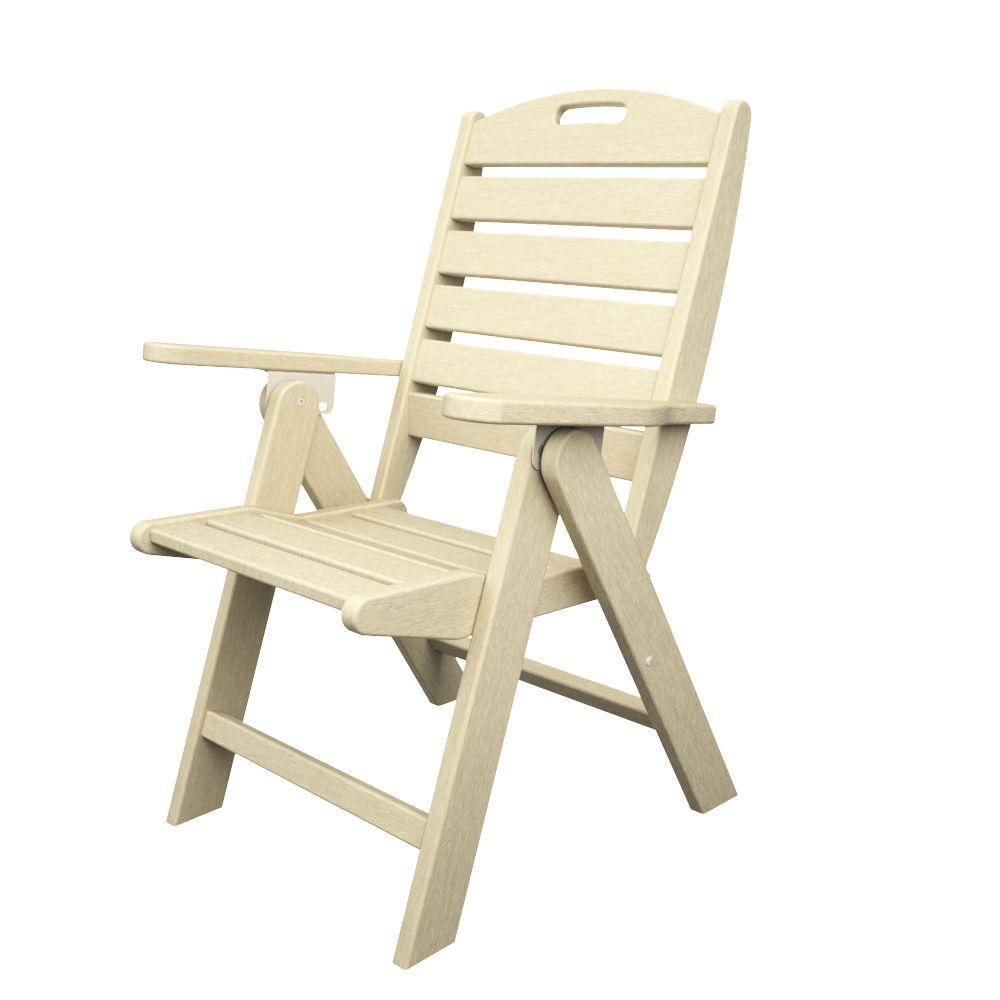 polywood nautical highback sand plastic outdoor patio dining chair rh homedepot com White Resin High Back Chairs High Back Lawn Chair