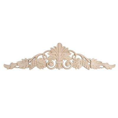 3-7/8 in. x 16-1/8 in. x 1/2 in. Unfinished Hand Carved Solid American Hard Maple Wood Onlay Grape Vine Wood Applique
